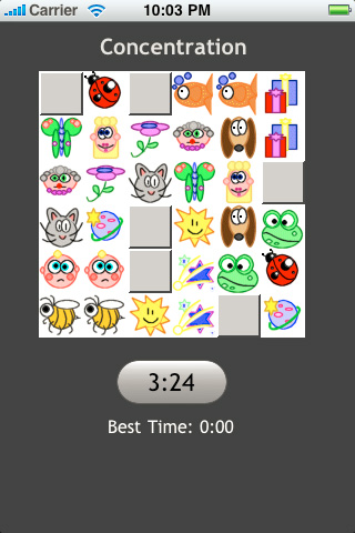 Screenshot Concentration Memory Game